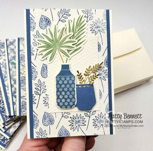 Boho Indigo Product Medley from Stampin Up, full of amazing card making and papercrafting supplies! #153132 www.PattyStamps.com Vanilla Note Card Idea with vases and ferns.