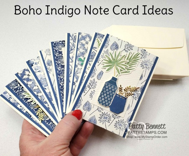 Boho Indigo Product Medley from Stampin Up, full of amazing card making and papercrafting supplies! Use Vanilla note cards/envelopes to create beautiful note cards. by Patty Bennett