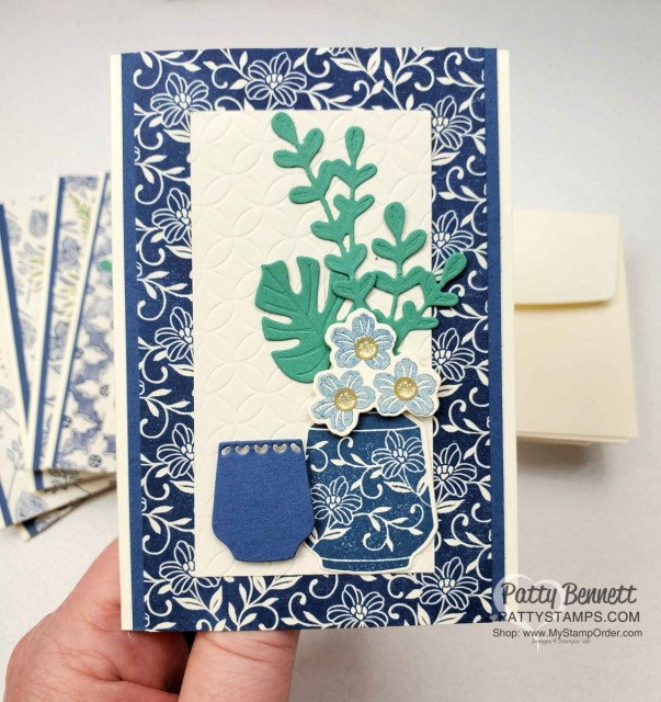Boho Indigo Product Medley from Stampin Up, full of amazing card making and papercrafting supplies! #153132 www.PattyStamps.com Vanilla Note Card Idea with die cut vases and paper flowers.