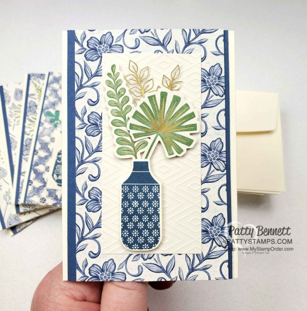 Boho Indigo Product Medley from Stampin Up, full of amazing card making and papercrafting supplies! #153132 www.PattyStamps.com Vanilla Note Card Idea with die cut vases and embossed paper.